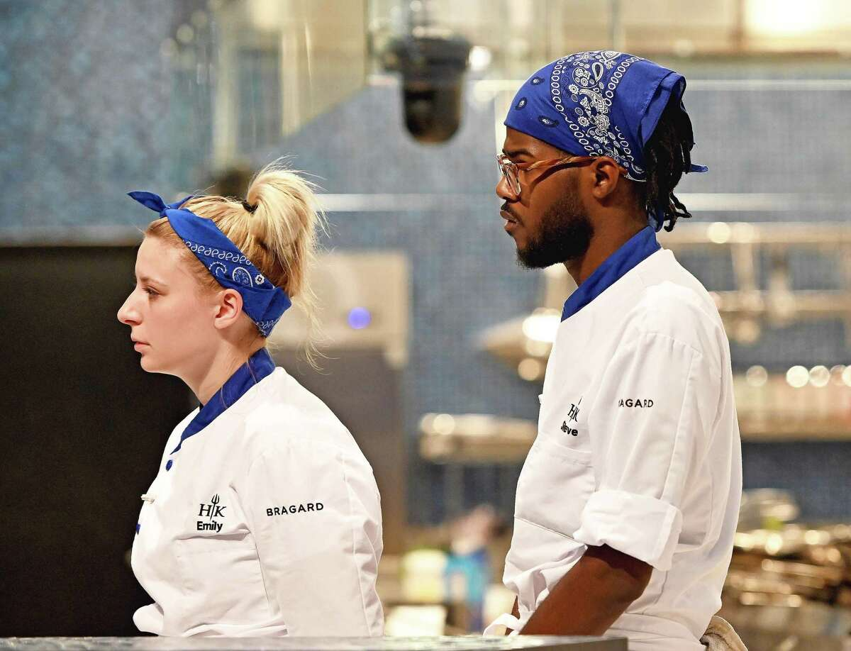 """Contestants Emily Hersh (left) and Steven Glenn compete in """"Hell's Kitchen: Young Guns."""""""