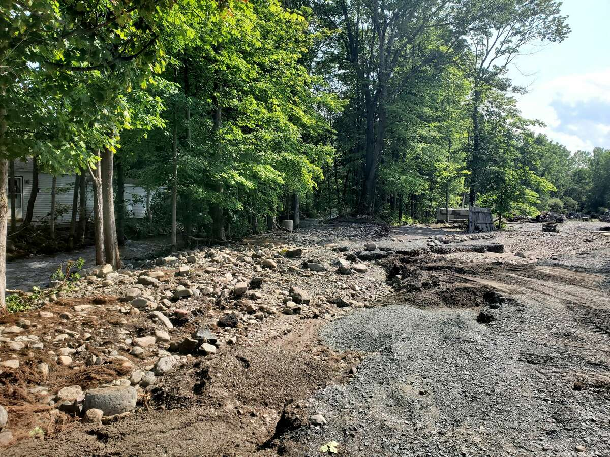 Floodwaters from powerful storms on Wednesday, July 14, 2021, destroyed the parking lot at The Towne Tavern in Averill Park. (Provided photo.)