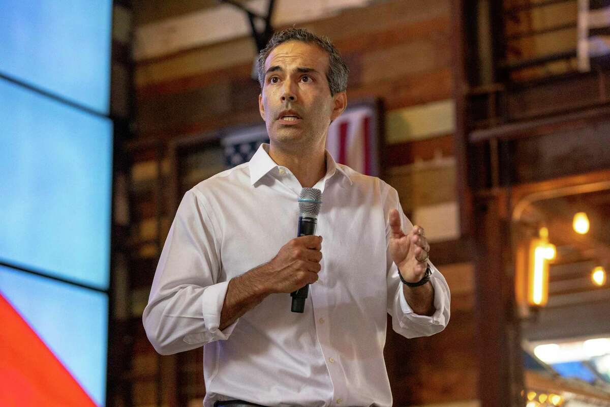 Texas Land Commissioner George P. Bush speaks during a rally to begin his campaign for attorney general at Buford's Backyard Beer Garden in downtown Austin, Wednesday, June 2, 2021.(Stephen Spillman / for Express-News)