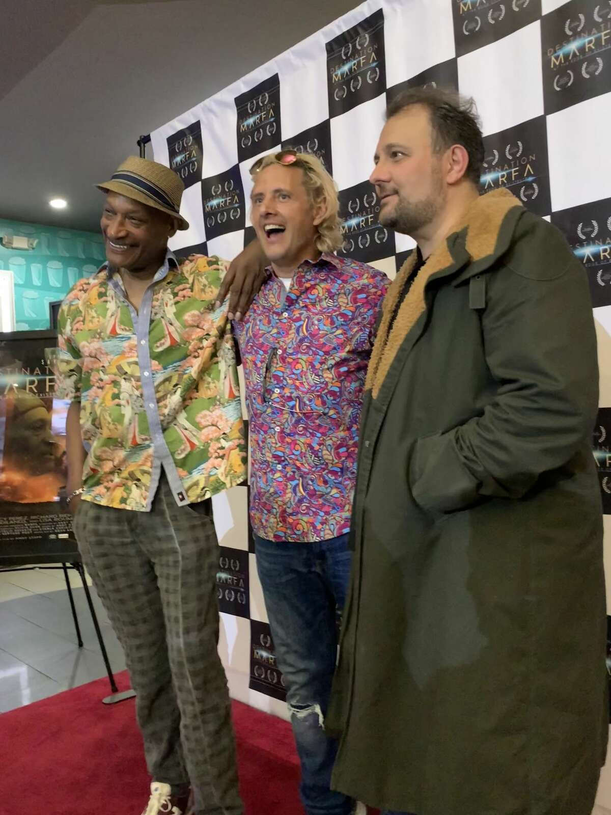 """Lockney native Andy Stapp debuted his movie """"Destination Marfa"""" to local audiences on Tuesday at Lubbock. Stapp, seen here with stars Tony Todd (left) and Stelio Savante (far right) used locations in Plainview and Lockney to shoot the film."""
