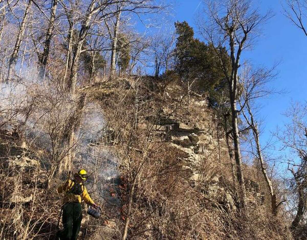 IRAP partner Ross Albert uses a drip torch at a spring prescribed fire at Two Branch Peace Prairie Nature Preserve.