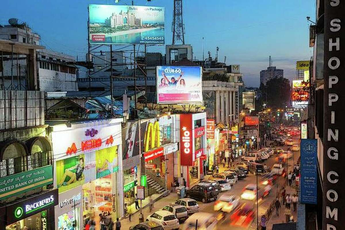 The main shopping street in Bangalore, India.