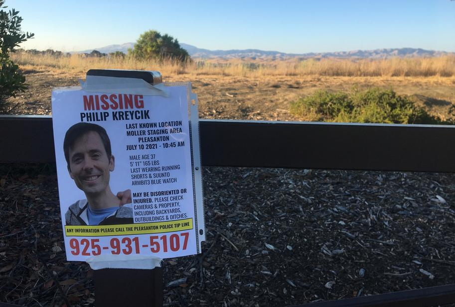 A poster for missing runner Philip Kreycik, who left his Berkeley home to go running at the left home to go running at Pleasanton Ridge Regional Park