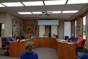 The Bad Axe City Council duringtalks during its meeting on Monday evening, where they put a program in place for donations to the city's park system. (Robert Creenan/Huron Daily Tribune)