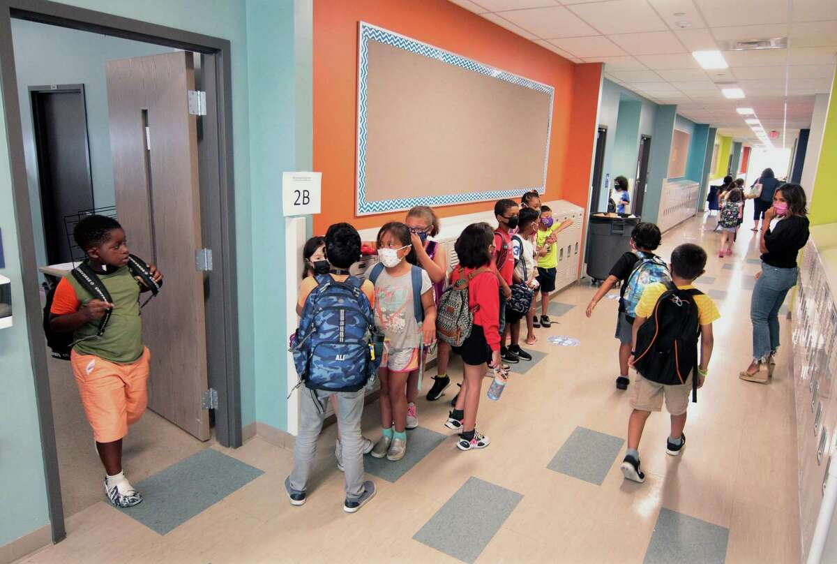 Students inside Strawberry Hill School in Stamford, Conn., on Friday July 16, 2021.