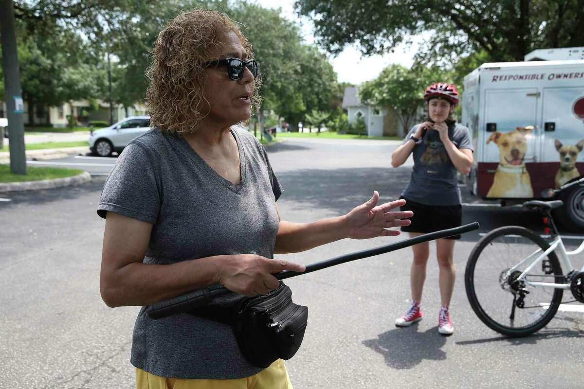 Rachel Rohrer, 64, carries a stick when she walks around