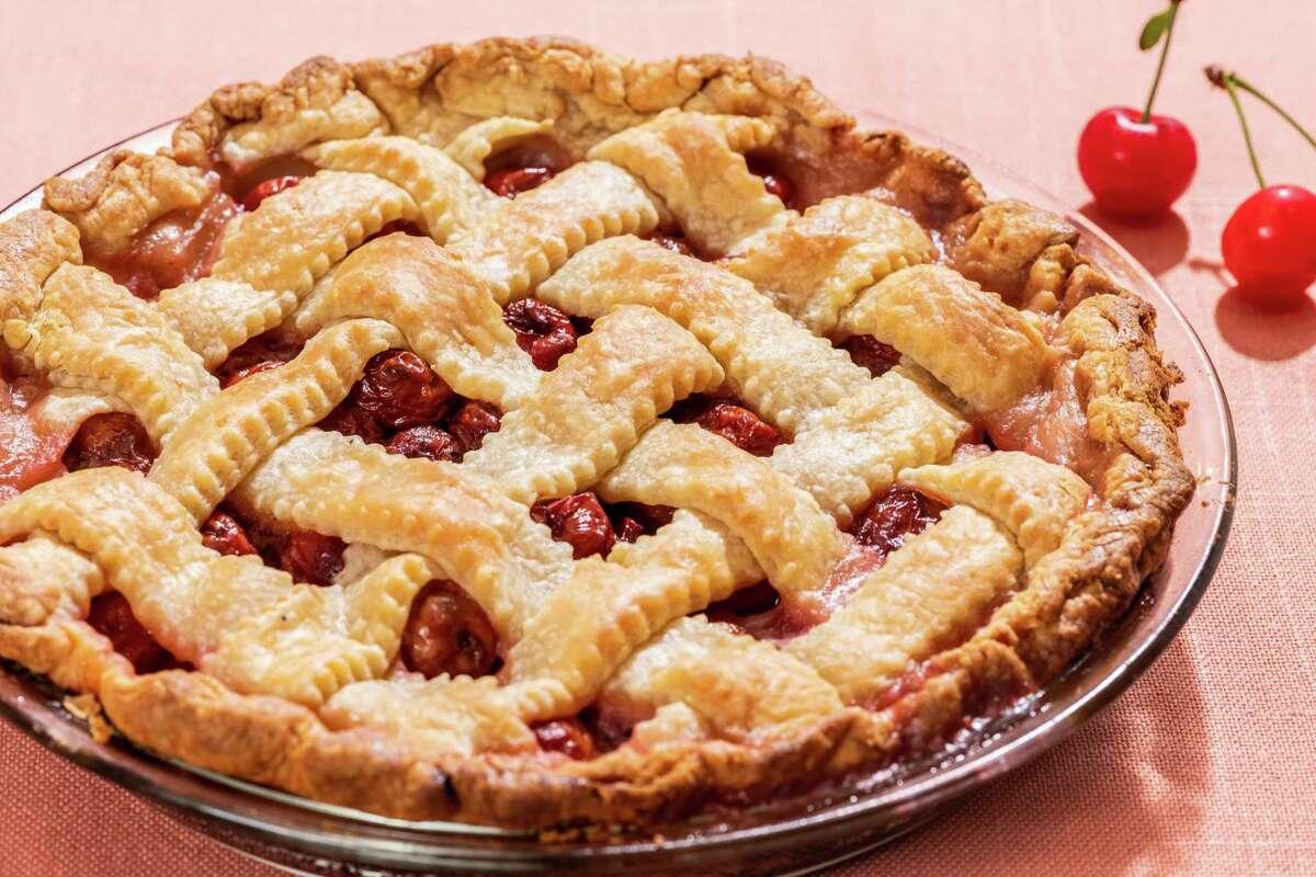 Sour Cherry Lattice Pie.