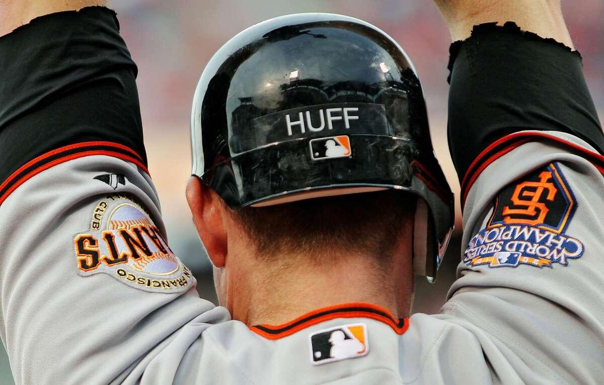 Aubrey Huff of the San Francisco Giants readies to bat against the Philadelphia Phillies at Citizens Bank Park on July 27, 2011 in Philadelphia, Pennsylvania.