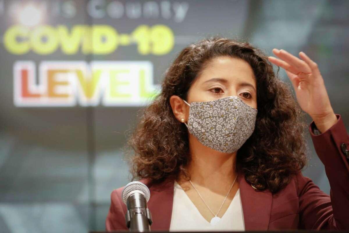 Judge Lina Hidalgo announced the raising of the COVID - 19 Threat to Level Orange at Houston Transtar Thursday, July 22, 2021, in Houston.