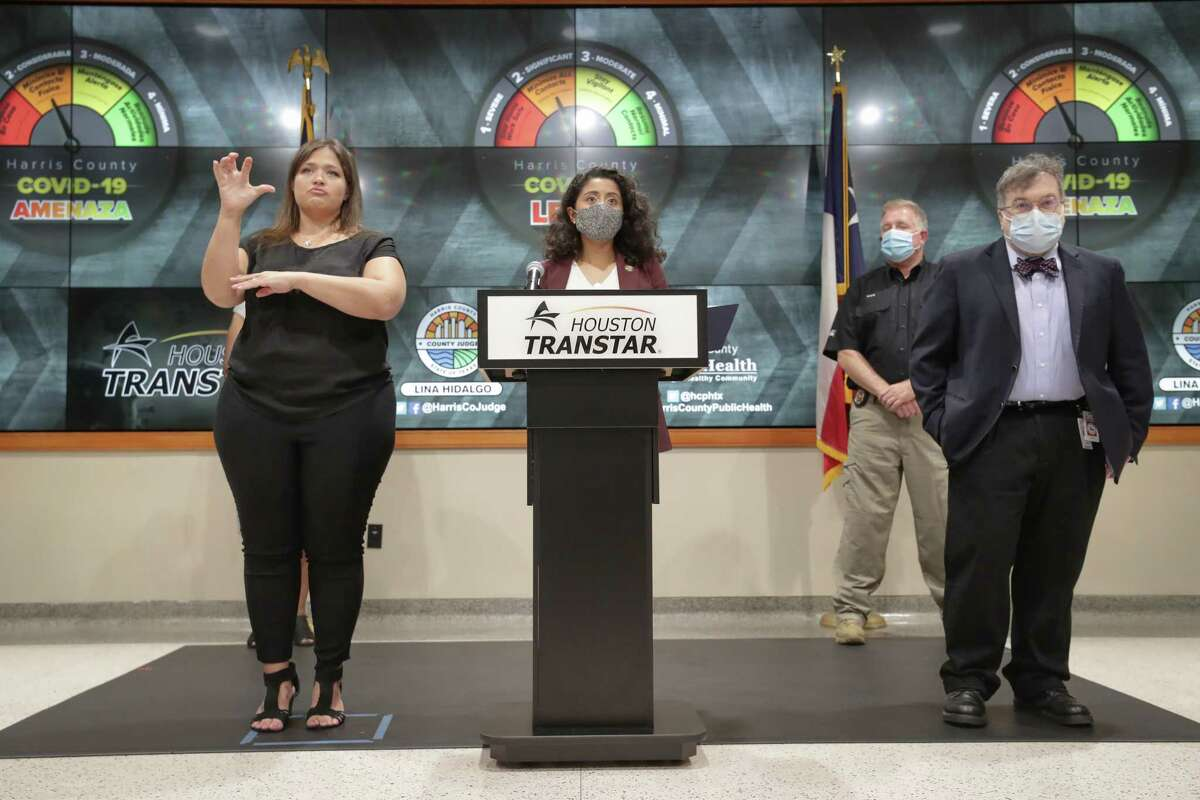 Judge Lina Hidalgo and Dr. Peter Hotez announced the raising of the COVID - 19 Threat to Level Orange at Houston Transtar Thursday, July 22, 2021, in Houston.