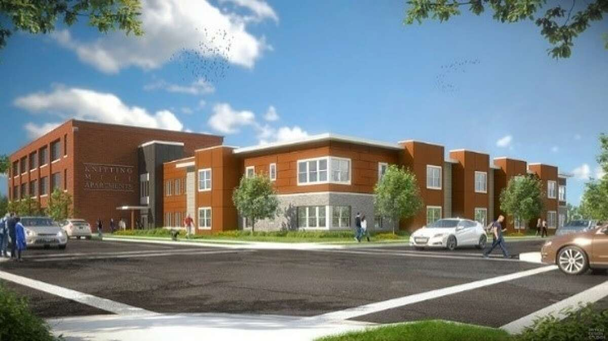 This is an architect's rendering of the planned Veddersburg apartments on East Main Street in Amsterdam.