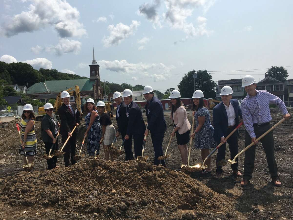 Ground is broken on the Veddersburg apartment project in Amsterdam on July 22, 2021.