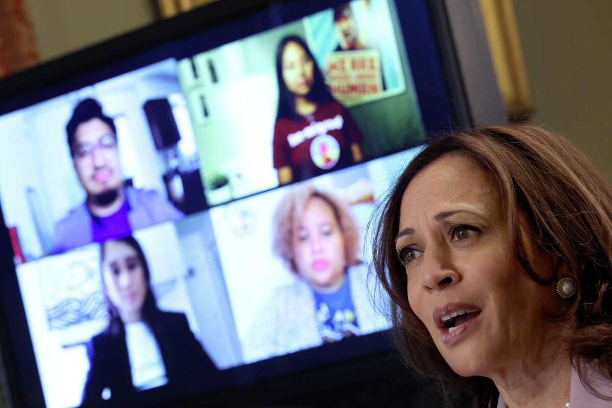 WASHINGTON, DC - JULY 22: U.S. Vice President Kamala Harris speaks while meeting with DACA recipients, Dreamers without DACA status, and immigrant rights leaders in her ceremonial office July 22, 2021 in Washington, DC. Harris met with the group in the wake of a Texas District Court decision that restricts protections for the children of undocumented immigrants that were established during the Obama administration. (Photo by Win McNamee/Getty Images)