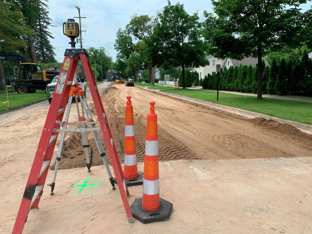 Construction has begun on an initial section of Locust street in downtown Big Rapids to repair damaged pavement,the firstsectionis expected to take around three weeks to complete before the crew starts work on the nextsegmentof road. (Pioneer photo/Olivia Fellows)