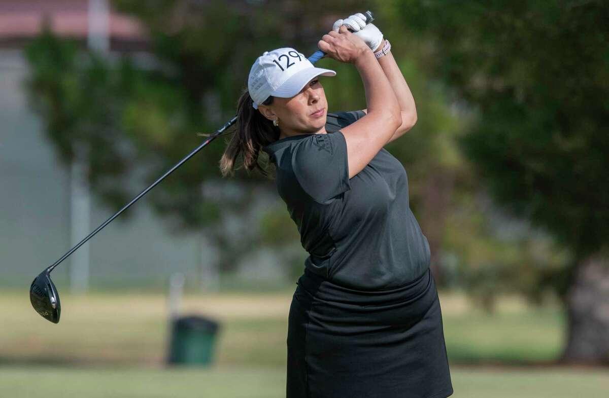 Shelly Martinez follows her drive 07/22/2021 during the championship round of the Midland Women's City Golf Tournament at Hogan Park Golf Course. Tim Fischer/Reporter-Telegram