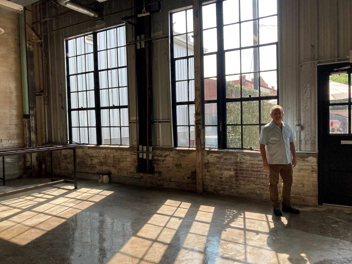 Andrew Kaldis of Kaldis Development shows an area of Ironworks, a historic redevelopment of the Cameron Iron Works building at 711 Milby, that could house a bar and patio.