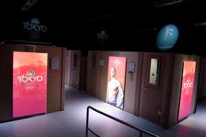 Soundproof announcer booths are set up for Olympic coverage at NBC Sports headquarters in Stamford, Conn. Tuesday, July 13, 2021. NBC Sports is preparing to cover the Tokyo 2020 Olympic Games, which were postponed a year, in a different way than usual due to the lingering pandemic.