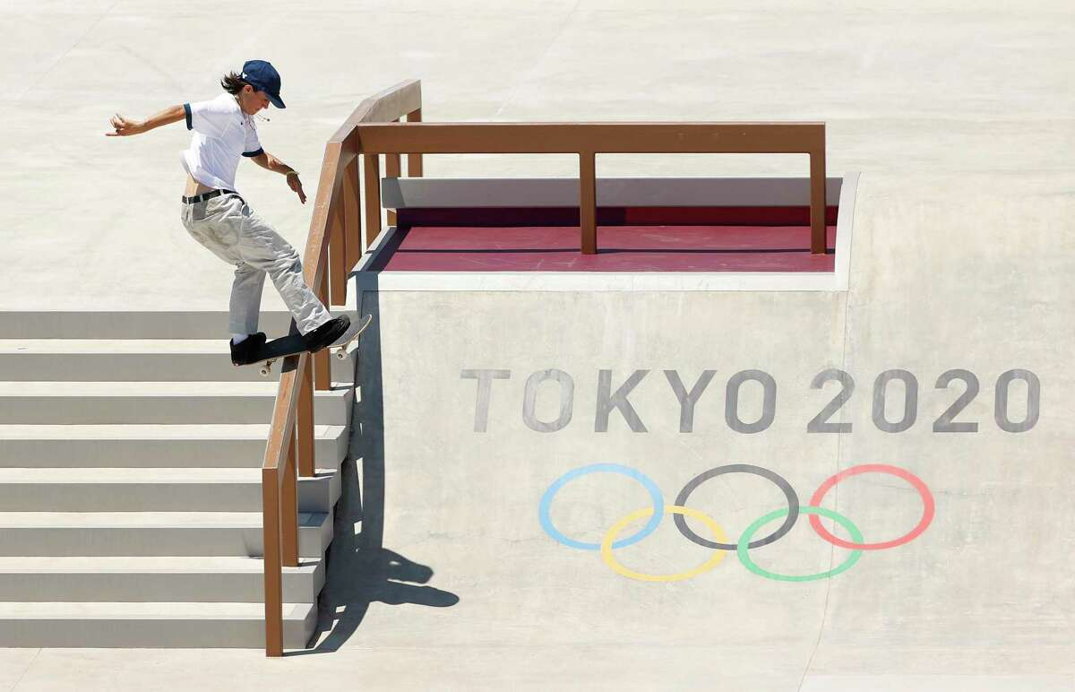 Alexis Sablone of Team United States practices on the skateboard street course ahead of the Tokyo 2020 Olympic Games on Wednesday in Tokyo. Skateboarding is one of the new sports at 2021 Olympics Summer Games.