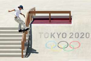 TOKYO, JAPAN - JULY 21: Alexis Sablone of Team United States practices on the skateboard street course ahead of the Tokyo 2020 Olympic Games on July 21, 2021 in Tokyo, Japan. Skateboarding is one of new sports at 2021 Olympics Summer Games . (Photo by Ezra Shaw/Getty Images)
