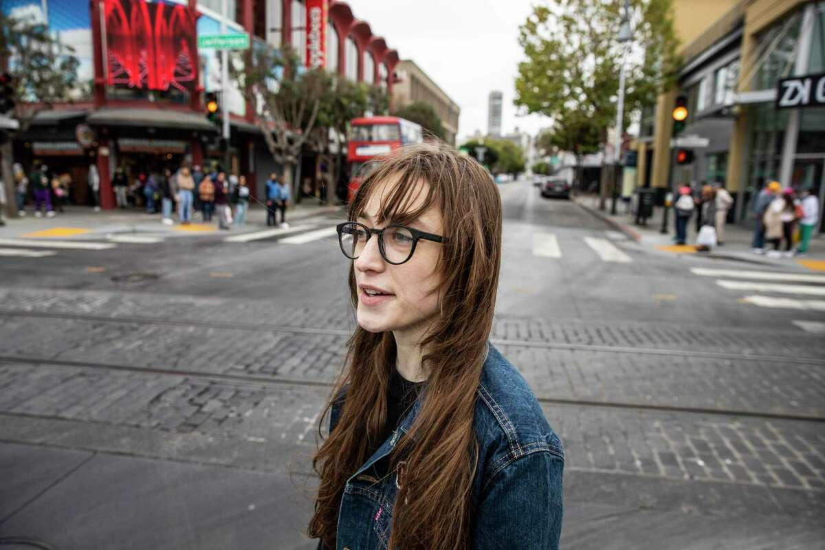 Becca Camping, a restaurant worker whose unemployment benefits were frozen after she was laid off last year because of the pandemic, visits Fisherman's Wharf.