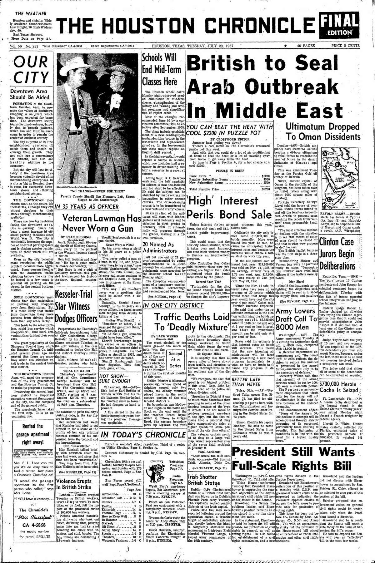 Houston Chronicle front page for July 23, 1957.
