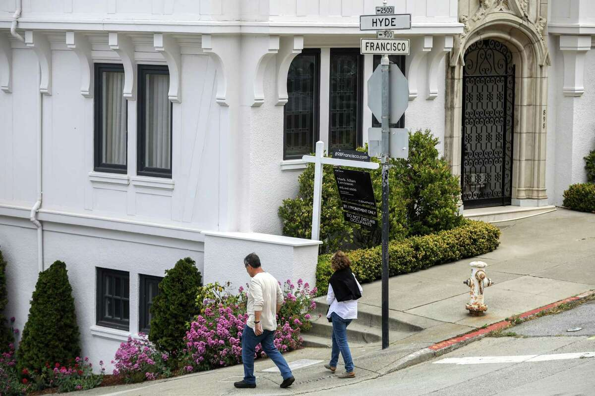 A house is on the market at Hyde and Francisco streets in the Russian Hill neighborhood of San Francisco last month.