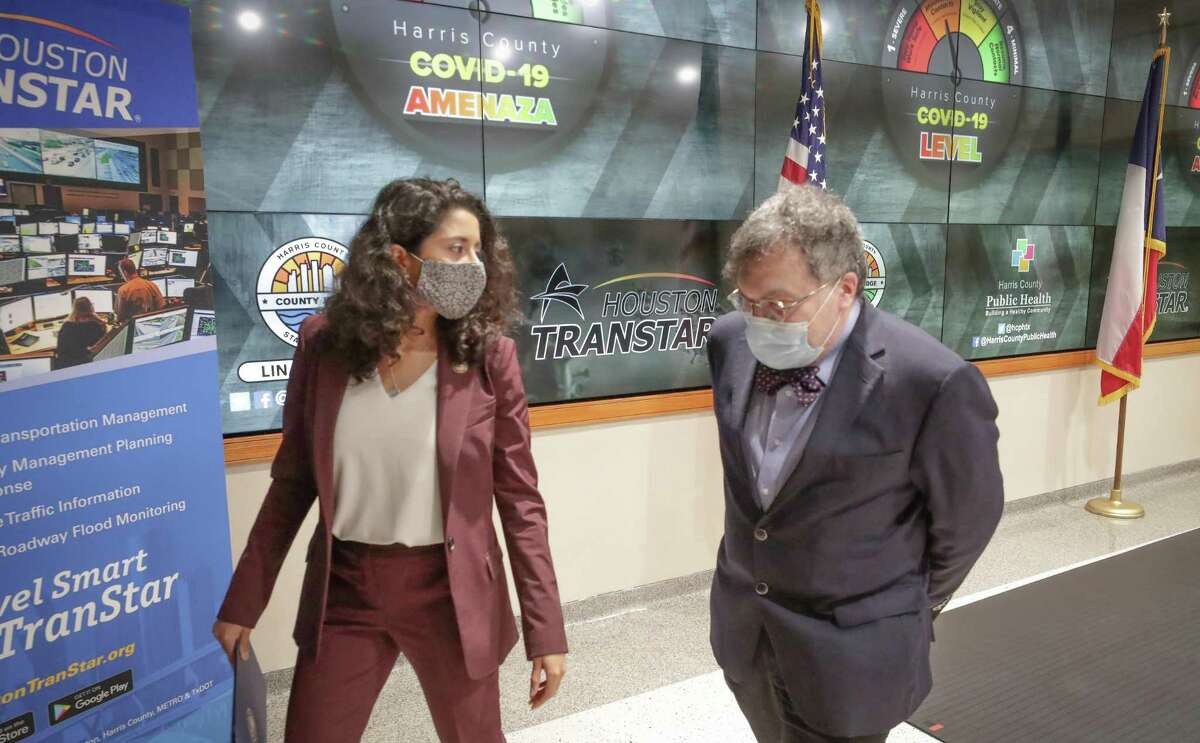 Judge Lina Hidalgo and Dr. Peter Hotez exist a press conference where they announced the raising of the COVID - 19 Threat to Level Orange at Houston Transtar Thursday, July 22, 2021, in Houston.