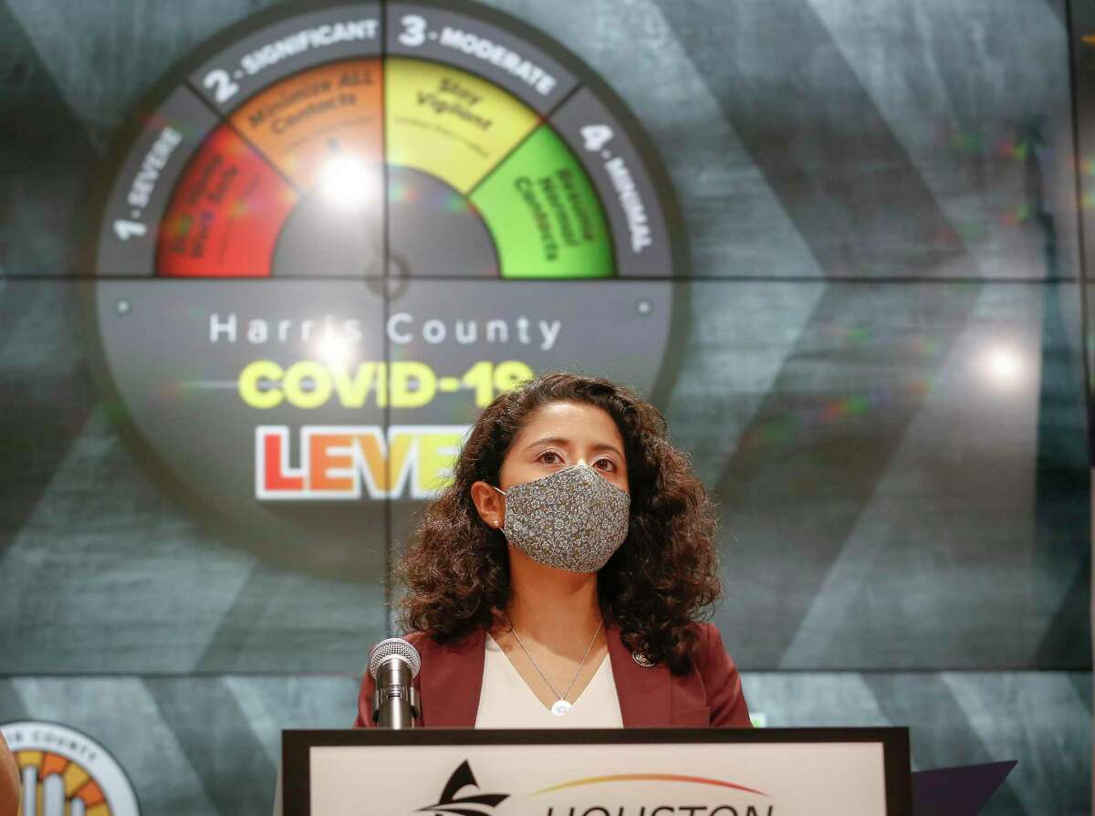 """Judge Lina Hidalgo moved the COVID - 19 Threat to Level Orange at Houston Transtar Thursday, July 22, 2021, in Houston. The virus continues to be a challenge. The U.S. is """"at another pivotal moment"""" with Covid-19 cases once again climbing."""
