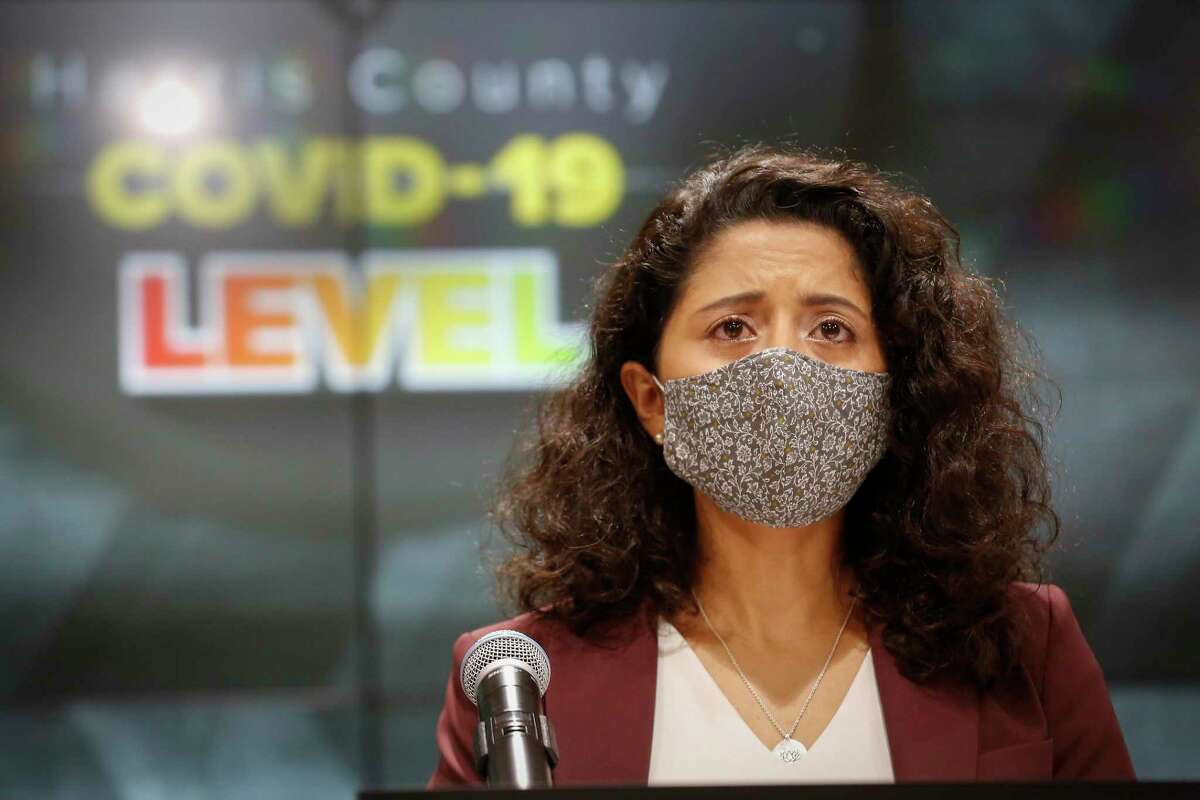 Judge Lina Hidalgo moved the COVID - 19 Threat to Level Orange at Houston Transtar Thursday, July 22, 2021, in Houston.