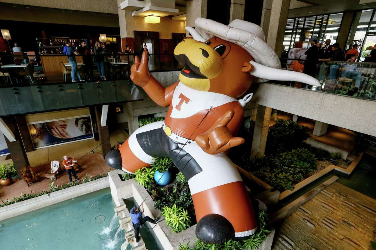 If Texas were to move to the Southeastern Conference, its revenues could be inflated like this giant Bevo, seen in the lobby of the Hyatt Regency San Antonio Riverwalk in December 2019, when the Longhorns faced Utah in the Alamo Bowl.