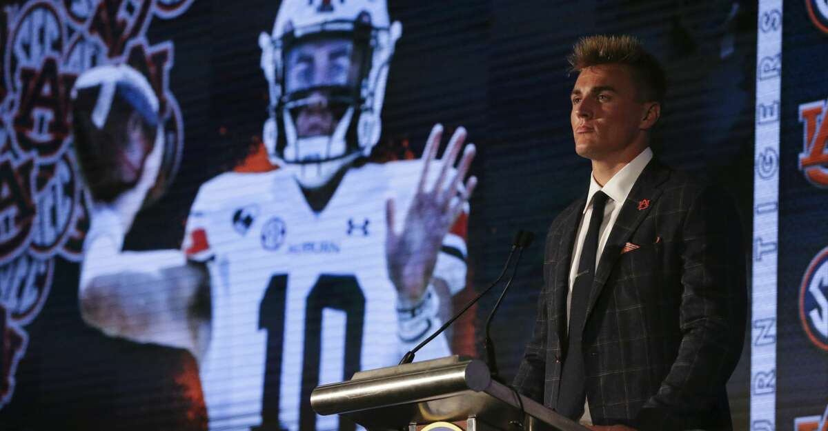 Auburn's Bo Nix speaks to reporters during the NCAA college football Southeastern Conference Media Days Thursday, July 22, 2021, in Hoover, Ala. (AP Photo/Butch Dill)