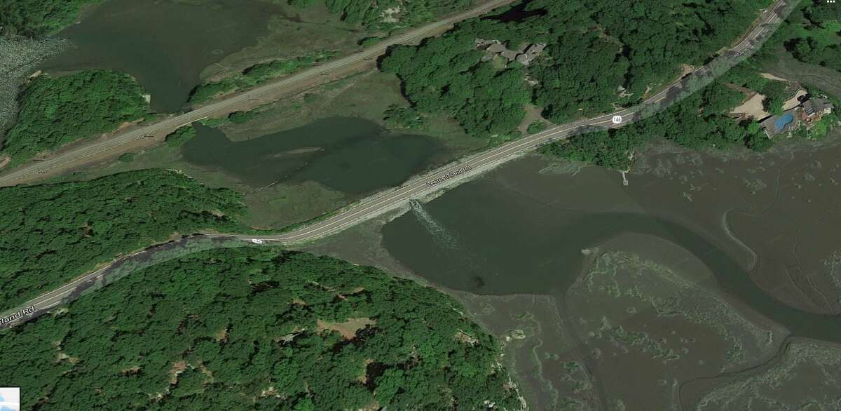 An overhead view of a Guilford structure that serves as a bridge on Leetes Island Road (Route 146).
