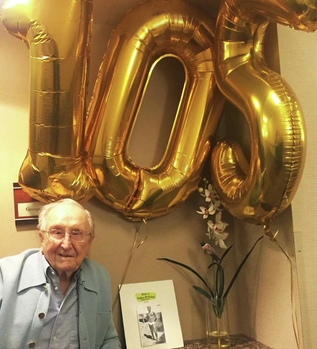 George Dondero on his 105th birthday. The former San Francisco resident, who turned 107 in 2020, survived the 1918-1919 influenza.