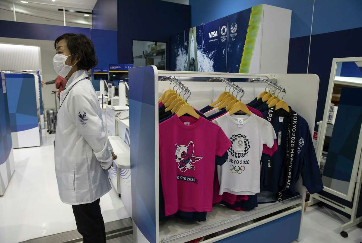 TOKYO, JAPAN - MARCH 26 : The official Olympic Tokyo 2020 souvenir shop at Narita International Airport on March 26, 2020 in Tokyo, Japan. The Olympics have been postponed until 2021 due to the Coronavirus. Narita is one of Asias largest and busiest airports, travel restrictions are imposed by countries and regions worldwide to help stop the spread of the coronavirus. According to news sources there are currently 683,667 Coronavirus cases globally with 32,153 deaths, around 146,396 have recovered. The United States has 123,804. (Photo by Paula Bronstein/Getty Images )