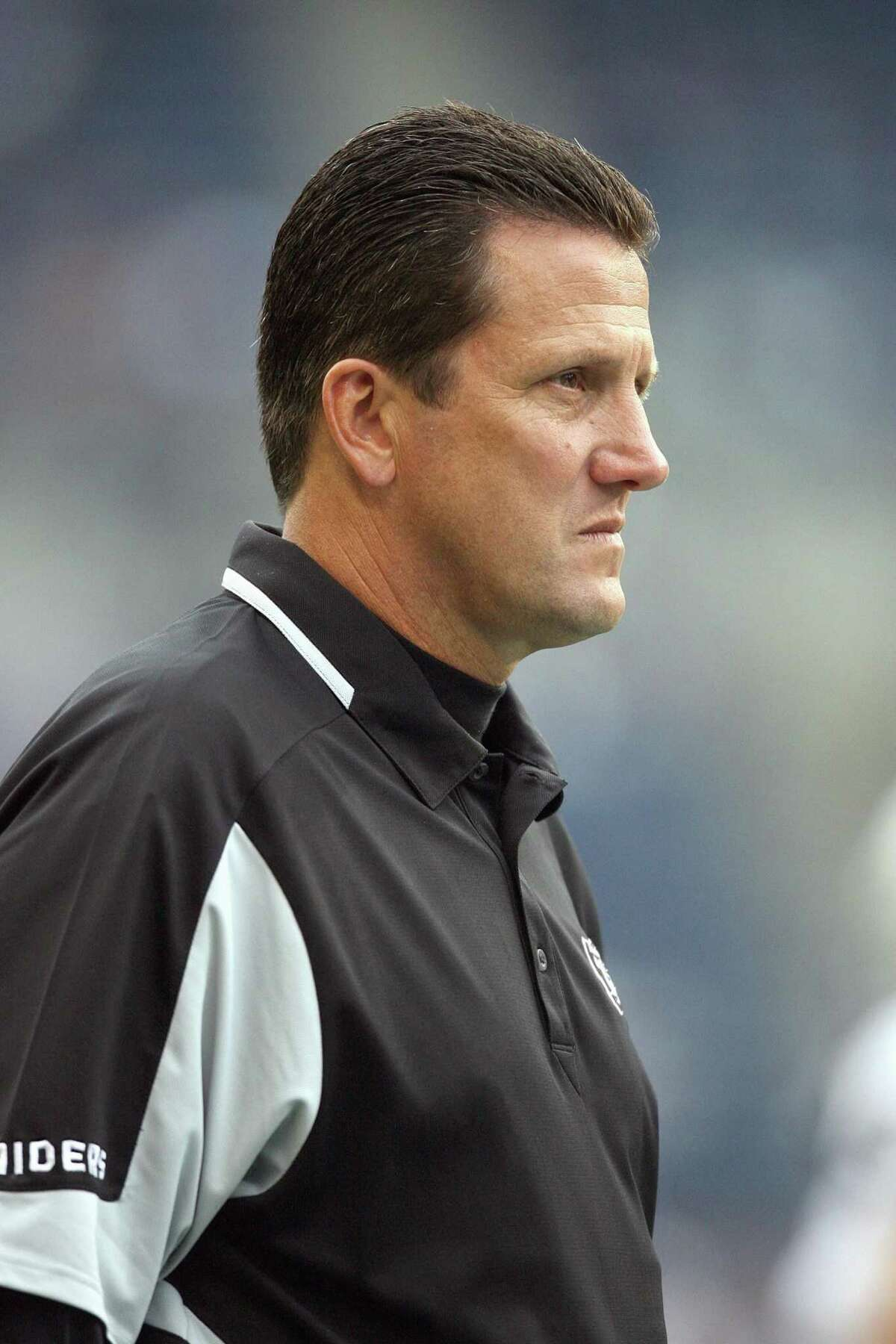 SEATTLE - AUGUST 29: Offensive Coordinator Greg Knapp of the Oakland Raiders looks on during the game against the Seattle Seahawks at Qwest Field on August 29, 2008 in Seattle, Washington. The Seahawks defeated the Raiders 23- 16. (Photo by Otto Greule Jr/Getty Images)