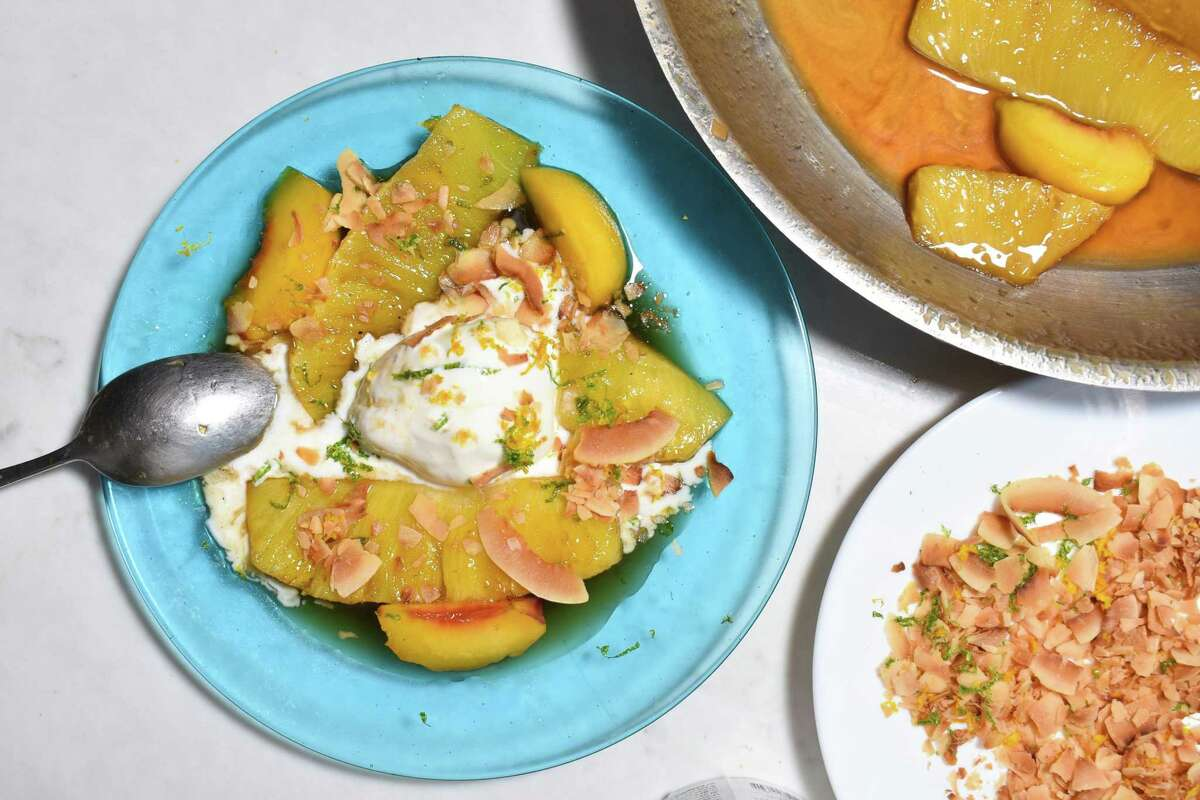 Peach and Pineapple Foster, a recipe by Bounty columnist Christian Reynoso.
