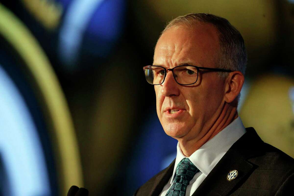 SEC Commissioner Greg Sankey speaks to reporters during the NCAA college football Southeastern Conference Media Days on Thursday but wouldn't address reports of Texas and Oklahoma potentially joining the conference.