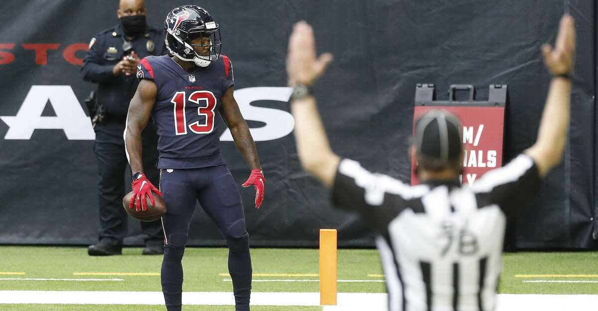 Houston Texans wide receiver Brandin Cooks (13) celebrates his touchdown catch during the second quarter of an NFL football game at NGR Stadium, Sunday, December 27, 2020, in Houston.
