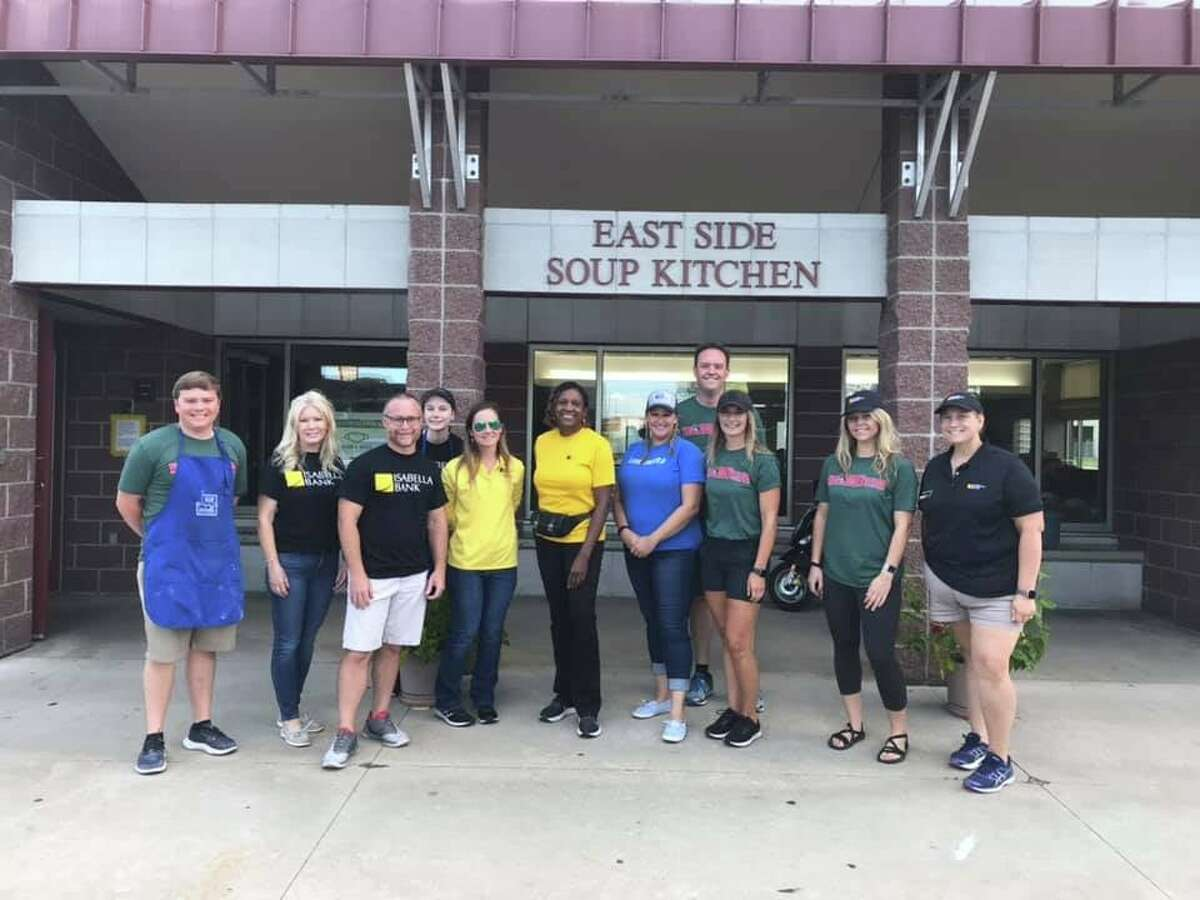 Volunteers from the United Way of Midland County, the Great Lakes Loons and Isabella Bank spent the morning of Wednesday, July 21, 2021 preparing and serving meals with Hidden Harvest and East Side Soup Kitchen in Saginaw. (Photo provided/United Way of Midland County)