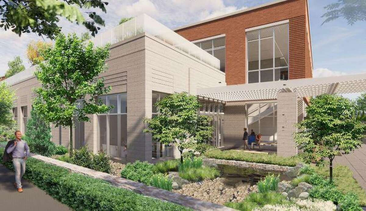 Plans by Greenwich Hospital for a new three-story cancer-care facility along Lake Avenue are in discussion. This is the proposed Lake Avenue view.