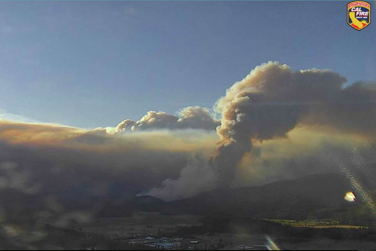 An ALERTWildfire screenshot of the DixieFire in Feather River Canyon, Plumas / Butte County on Thurs., July 22, 2021.