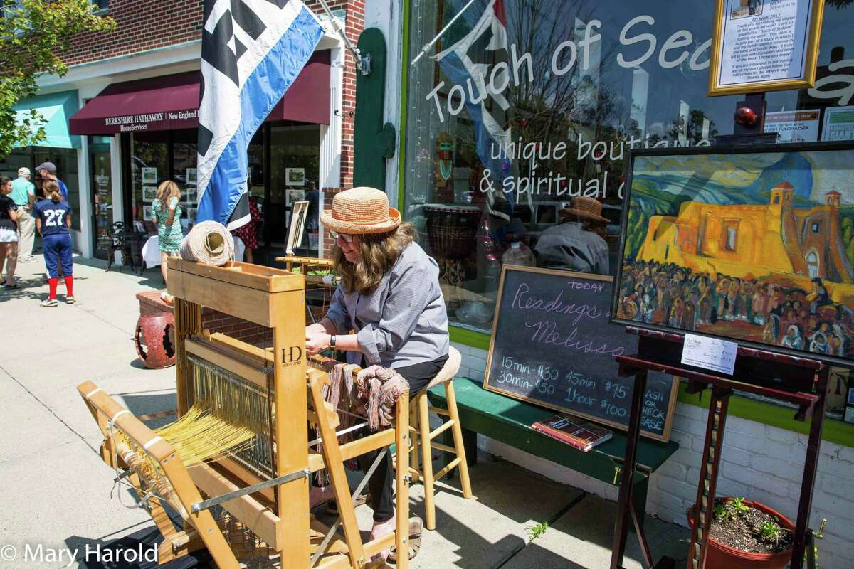 """Ridgefield resident Cathy Prior died on June 8 following a colon cancer diagnosis in April. She was """"a great friend of the Ridgefield Guild of Artists"""" and participated in its annual ArtWalk, enticing passersby with her enchanting weaving loom."""