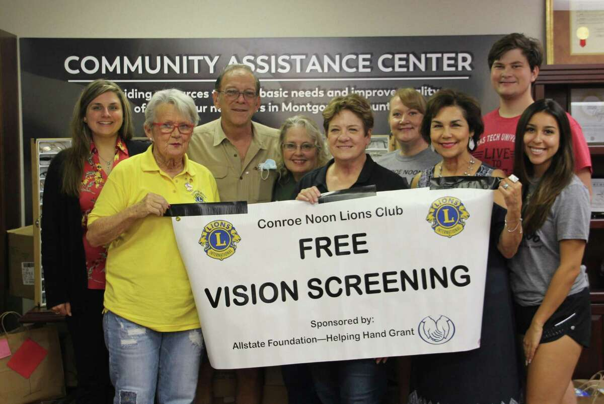 Last week the Conroe Noon Lions Club in conjunction with the Montgomery County Homeless Coalition organizations held their by-monthly Vision Screening at the Community Assistant Center. Pictured: (l-r) back - Amanda Anders, Karl Johnson, Jane Johnson, Pauline Veazey, Bryce Veazey, front - Inge Merle, Connie Engle, Irene Guajardo, Emily Gonzalez.