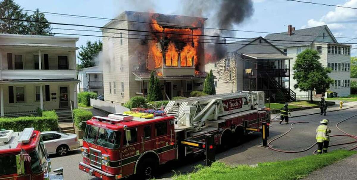 A fire at a Jewett Street home in Ansonia, Conn., on Thursday, July 22, 2021.