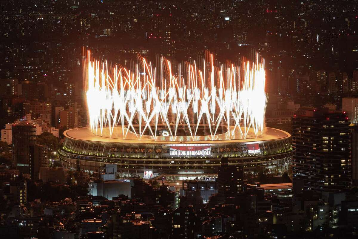Fireworks are displayed during the Opening Ceremony of the Tokyo 2020 Olympic Games at Olympic Stadium on July 23, 2021 in Tokyo, Japan.