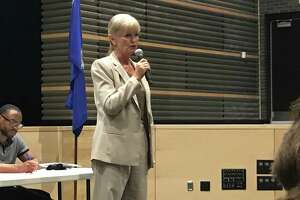 Mayor Nancy Rossi speaks at the Democratic Town Committee on July 22, 2021.