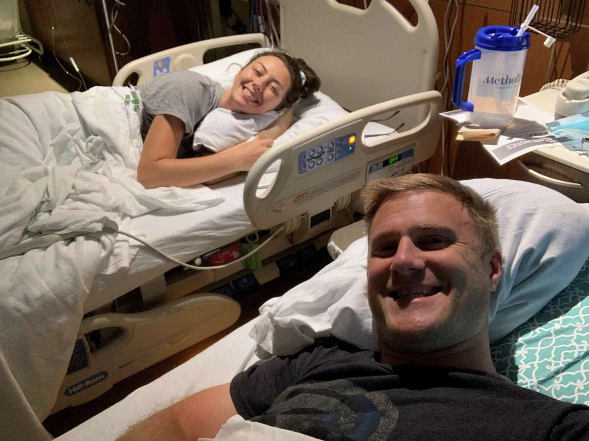Molly and Brian Gerwig at the hospital as Molly undergoes treatment for a type of colon cancer.