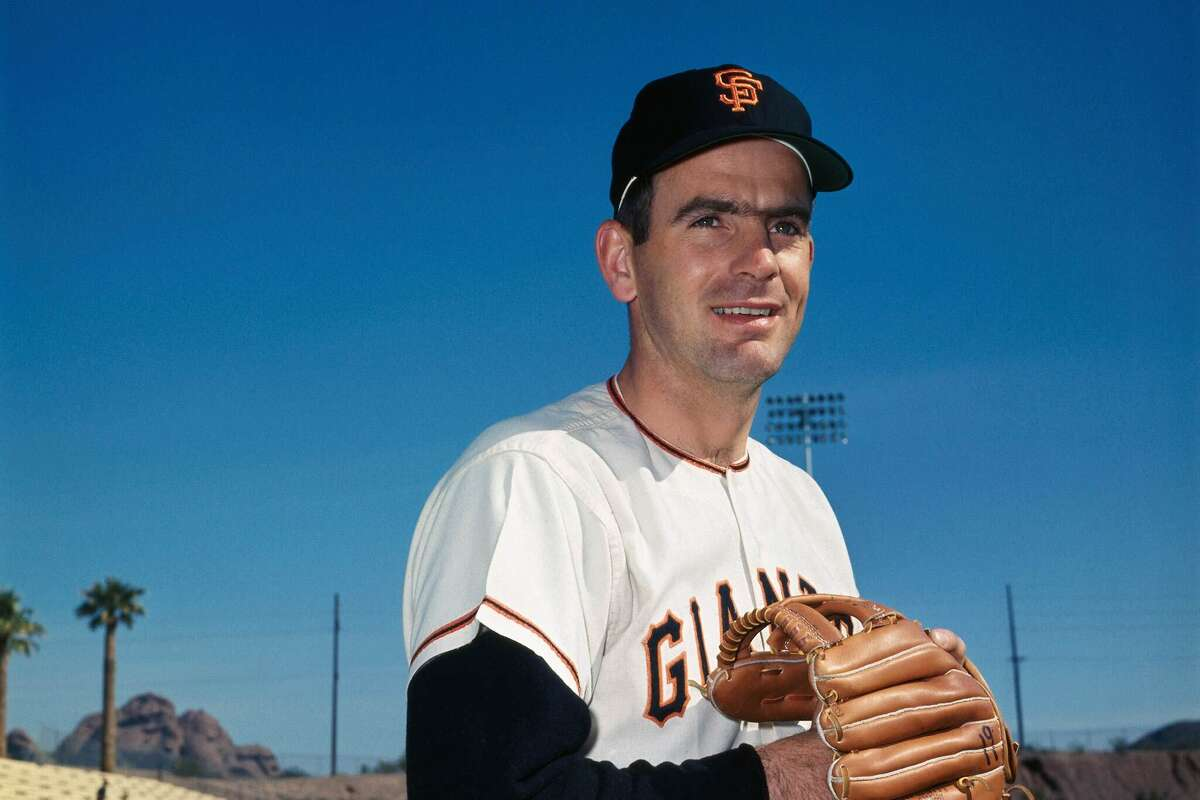 A close up of San Francisco Giants pitcher Gaylord Perry during Spring Training in 1967.