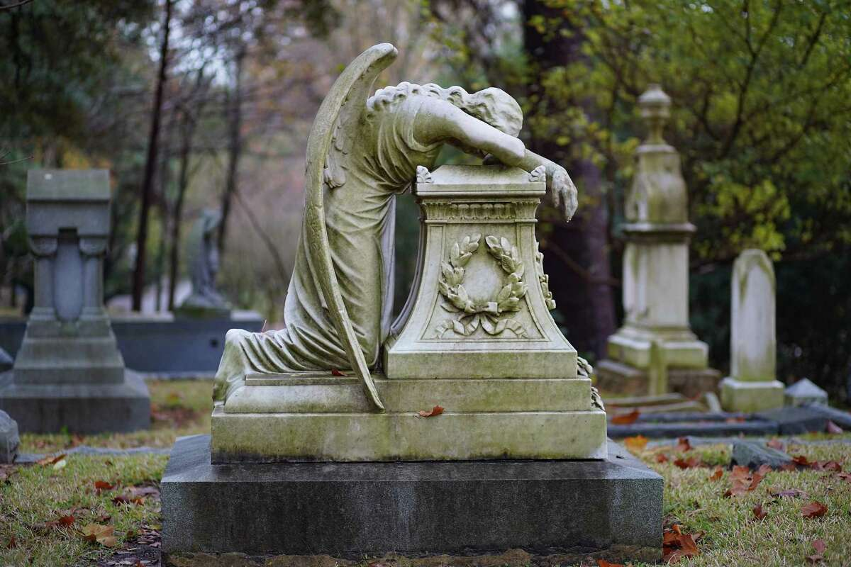 In 1894, sculptor William Wetmore Story carved the famous Angel of Grief sculpture in Rome for his wife's grave. It was widely copied in the U.S. and Europe, and is shown here on the Hill family monument in Glenwood Cemetery in Houston.