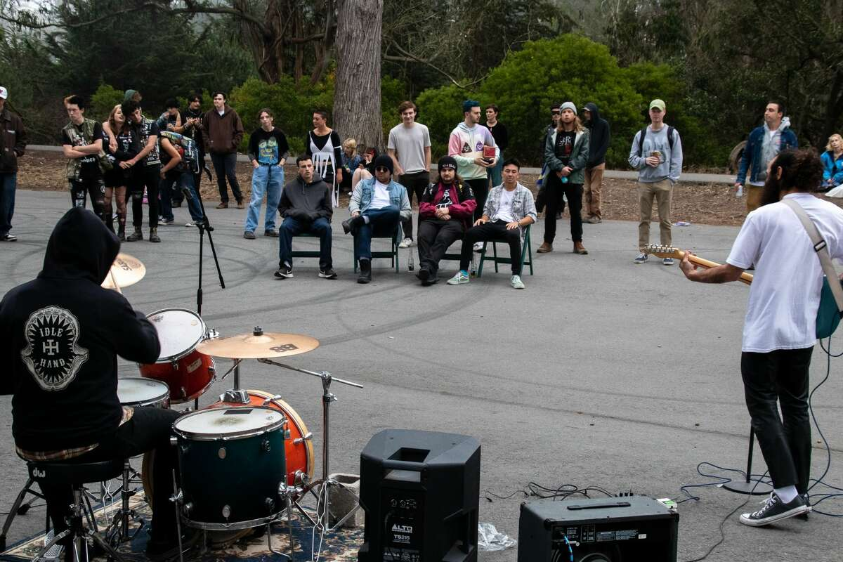Goof, with members of Surprise Privilege in front of the audience at Golden Gate Park on July 18, 2021.